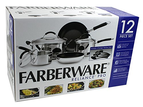 Farberware 12-Piece Non-Stick Cookware Set, Stainless Steel | FARBER-76794