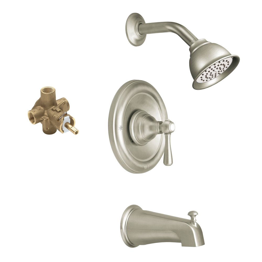 Brushed Nickel Moen KTSKI-P-T2113EPBN Kingsley Showerhead and 5 1//2-Inch Spout