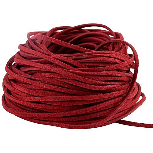 (Navifoce Genuine Flat Suede Leather Cord Lace Beading Craft Thread String, 3mm, 20m Spool (Crimson red))