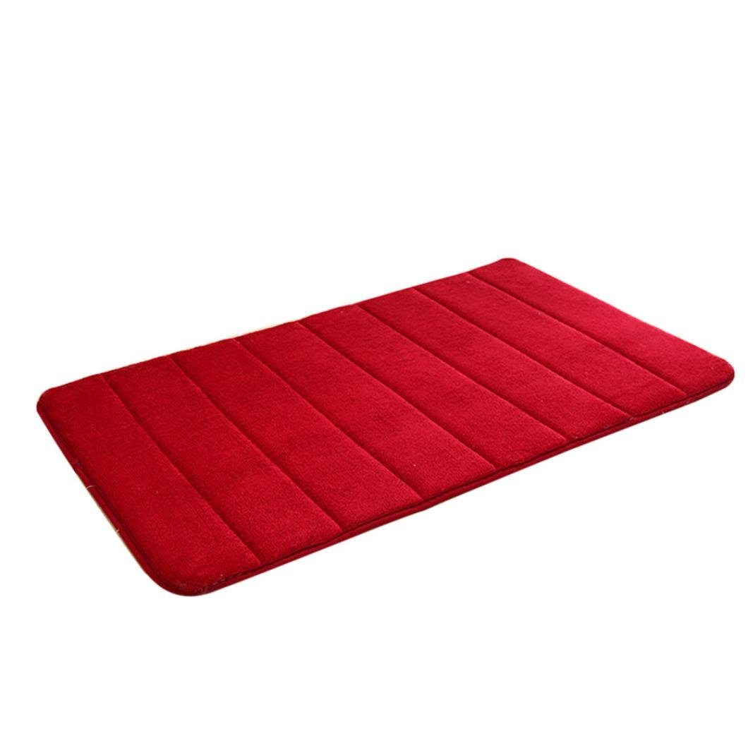 Antislip Mat, Vanvler Memory Foam Carpet Absorbent Bathroom Shower Bath Mats (Red)