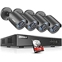 ANNKE H.264+ Security Camera System 8CH 1080P Lite DVR and (4) 1.0MP 720P Weatherproof Cameras, 1TB DVR Storage, Email Alert with Snapshots, Enable H.264+ to Record longer, Save money