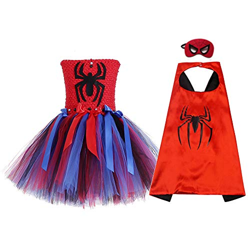 AQTOPS Spider Girl Costumes for Kids Halloween Super Hero Tutu Dress Outfits, Medium -