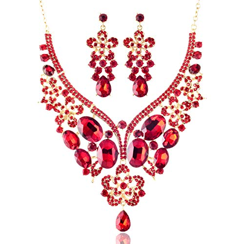 - LAN PALACE African Jewelry Sets 18k Gold Glass Rhinestone Necklace and Earrings for Wedding six Colors (Red)