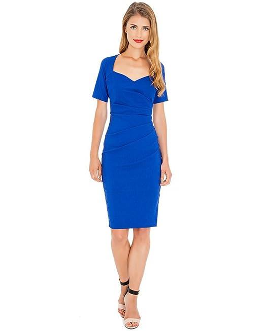 Señoras Vestir Trabajar Vestidos Manga Corta Oficina Fiesta Cóctel Vestido de Noche (46, Azul