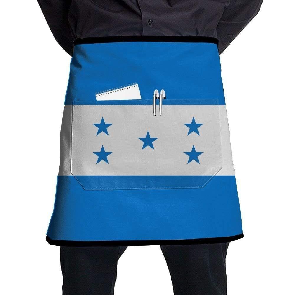 Liliynice Deluxe Cooking Aprons, Honduras Flag Bib Aprons Classic Pockets Half-Length Long Waist Kitchen Aprons Half Aprons