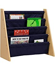 Wildkin Kids Canvas Sling Bookshelf for Boys and Girls, Wooden Design Features Four Fabric Shelves, Keep Bedrooms, Playrooms, and Classrooms Organized, Measures 25 x 24 x 11 Inches (Natural w/ Blue)