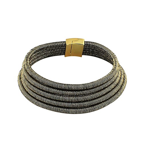 Rope Choker (Stylish Celebrity Style Multi Layered Coil Rope Gold Black Choker Necklace (Two Tone))