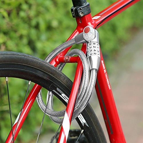 Dsteng Bike Lock Bicycle Lock Chain Resettable 4 Digit Combination Anti-Theft Bike Locks Bike Motorcycle Gate Garage Fence by Dsteng (Image #4)