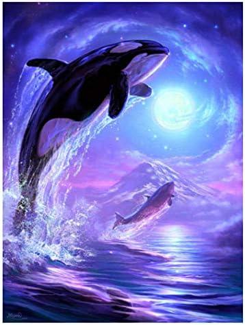 のためのデジタル油絵大人 油絵 モダンアート クリスマスの装飾ホームインテリアギフト-イルカ 40*50CM(フレームレス)