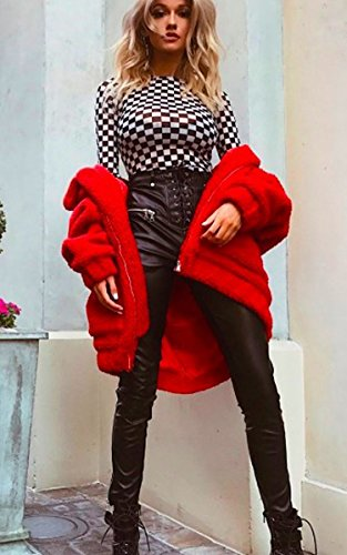 Longues Rouge Manteau Ecowish Femme Manches IwzOx7