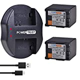 PowerTrust BP-820 Battery (2-Pack) and USB Dual Charger for Canon VIXIA GX10, HF G50, HF G60, HFG20, HF G21, HFG30, HFG40, HFM301, HFM41, HFM400, HFS200, XA10, XA11, XA15, XA20, XA25, XA40, XA45, XA5