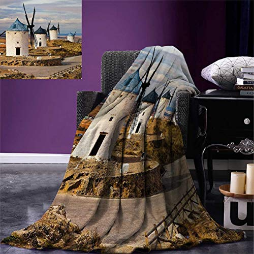 smallbeefly Windmill Throw Blanket Medieval Spain Windmills in Consuegra Old Historical Landmark Warm Microfiber All Season Blanket Bed Couch 50''x30'' Blue White Pale Brown by smallbeefly