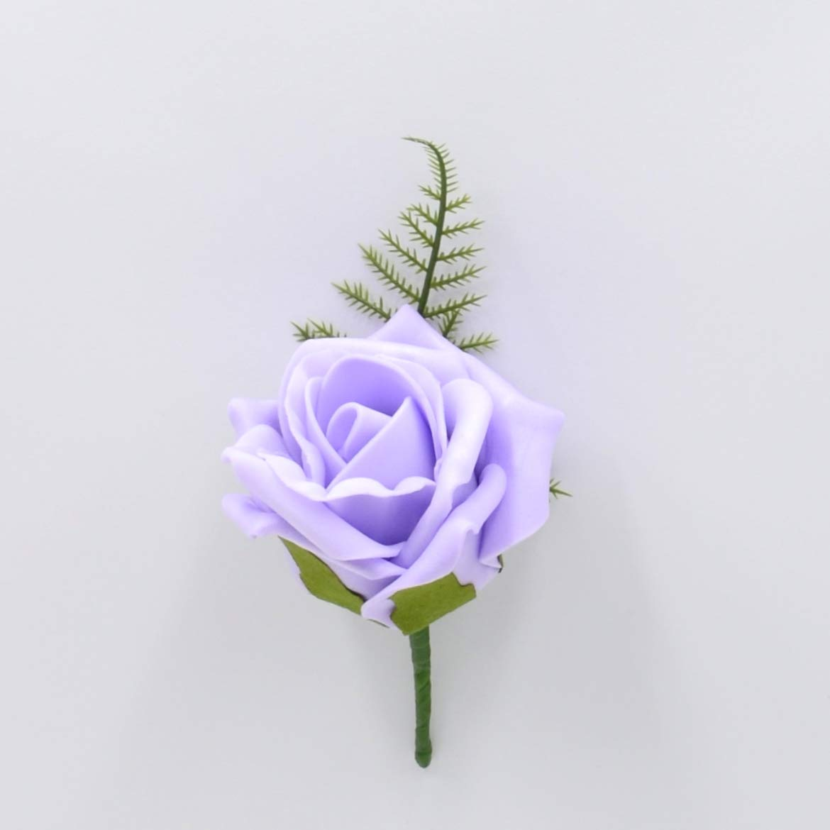 Artificial Wedding Flowers Hand-Made by Petals Polly, Foam Rose Buttonhole in Lilac PETALS POLLY FLOWERS
