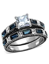 1 Carat Princess Cut CZ /Blue Sapphire CZ Women's Stainless Steel Wedding/Engagement Ring Set