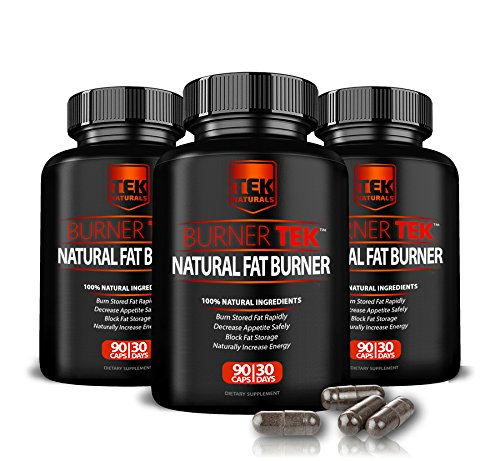 3 Bottles of BurnerTEK™ All Natural #1 Rated Fat Burner - 12 Fat Burning Ingredients, 270 Pills, 90 Day Supply - Lose Weight, More Energy & More Stamina (3) by TEK Naturals