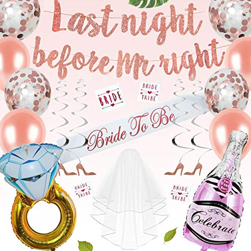 Bachelorette Party Decorations | Rose Gold Bridal Shower Supplies | Pink Bachelorette kit | Banner, Veil, Sash, Balloons