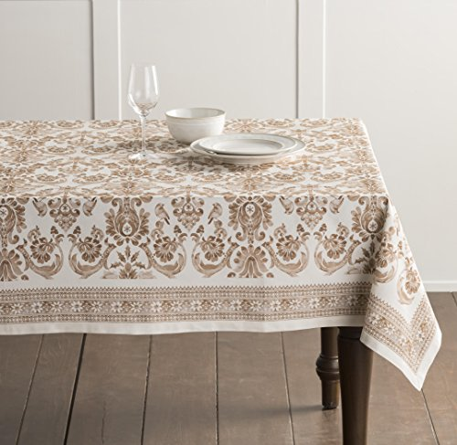 Maison d' Hermine Allure 100% Cotton Tablecloth 60 Inch by 60 Inch. Perfect for Thanksgiving and Christmas