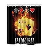 NYMB Casino Decor Burnning Poker Cards Shower Curtain 69X70 inches Mildew Resistant Polyester Fabric Bathroom Fantastic Decorations Bath Curtains Hooks Included (Multi27)