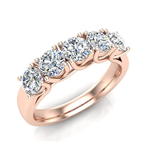 1.10 ct tw Classic Five Stone Diamond Wedding Band Ring 14k Rose Gold (Ring Size 6.5) by Glitz Design
