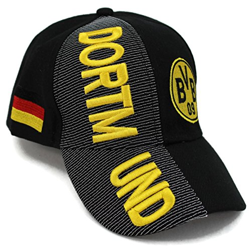High End Hats World Soccer / Football Team Hat Collection Embroidered Adjustable Baseball Cap, Borussia Dortmund with BVB Logo, Black