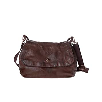 dd29842801 Borsa lavata donna in pelle tinta in capo con tracolla e patta DUDU Cocoa  Brown: Amazon.it: Valigeria
