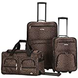 Rockland F165 Printed Luggage Set, Leopard, Medium, 3-Piece