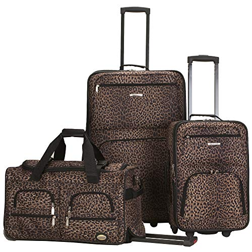 (Rockland Luggage 3 Piece Printed Luggage Set, Leopard, Medium)