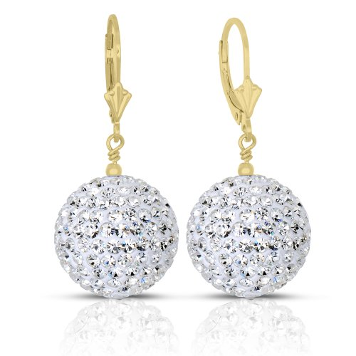- 14k Gold 16mm White Crystal Pave Ball Drop Earrings with Lever-back (yellow-gold)