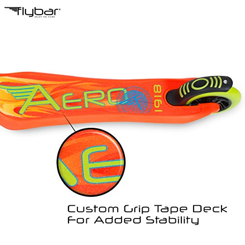 Flybar Aero 2-Wheel Kick Scooter For Kids With Grip Tape Deck, ABEC 5 Bearings, 125mm Light Up Wheels & Adjustable Handlebars - Holds Weights Up To 175 Lbs by Flybar (Image #2)