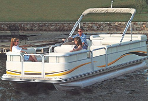 Carver Styled-to-Fit Cover for Pontoons with Fully Enclosed Deck and Bimini Top, Haze Gray (Deck Haze)