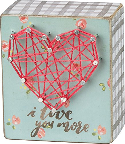 Primitives By Kathy 3 inches x 3.50 inches I Love You More String Art Home Decor