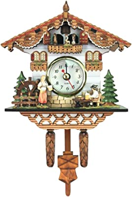 Fenteer Vintage Decorative Clock Hanging Wood Cuckoo Clock Farmhouse Home Décor
