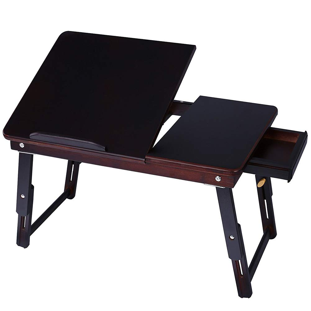 CLEAVE WAVES Bamboo Laptop Desk, Portable Light Weight Breakfast Serving Bed Tray with Tilting Top Drawer Retro Color
