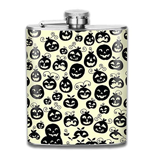 Hand Drawn Halloween Flasks Stainless Steel Hip Flask Assorted Colors,7oz -
