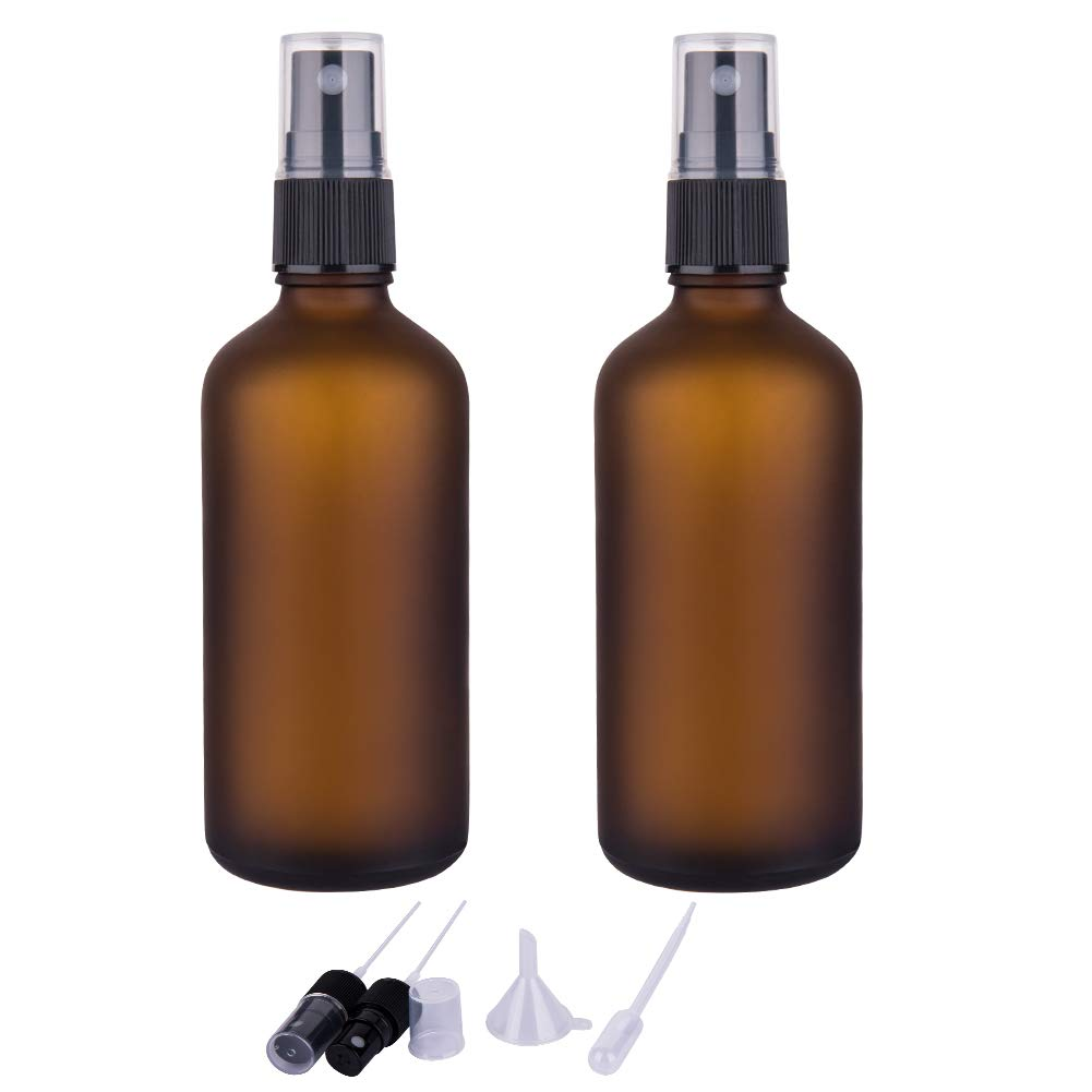 Small Fine Mist Glass Spray Bottles For Essential Oils, Empty Frosted Amber Glass Spray Bottle (3.4oz, Set of 2)