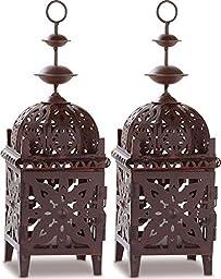 2Pcs Moroccan Lantern Birdcage Metal Lanterns Hanging Lamp Candle Holder Decor