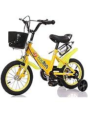 دراجة أطفال مع عجلات للتدريب، زجاجة مياه وسلة أمامية 40.64 سم، لون أصفر من مايبي كيو