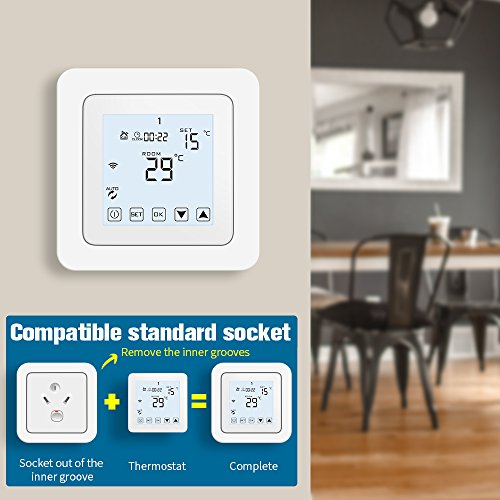 WiFi Thermostat, Programmable Touchscreen Smart Thermostat, Compatible with Alexa by CoolPai (Image #7)