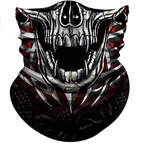 (Obacle Motorcycle Face Mask Sun UV Dust Wind Protection Tube Mask Seamless Bandana Skeleton Face Mask for Men Women Bike Riding Cycling Biker Fishing Hunting Outdoor Festival (Ring Thorn Face Skull))