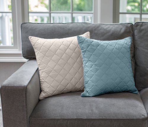 The Original SOFA SHIELD Reversible Set of 2 Throw Pillow Cases to Match Furniture Protector, Reversible (Throw Pillow: Seafoam/Cream) - Sofa Pillow Foam