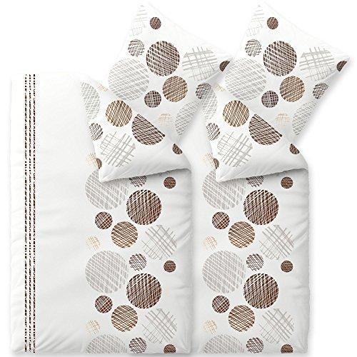 4-teilig / 2 x 2 teilig flauschige Winter-Bettwäsche | verschiedene Größen | 4-Jahreszeiten Baumwolle Biber 135 x 200 cm | OVP SPARSET 4 tlg. | CelinaTex 6000271 | Touchme Curly | Kreise gestreift weiß beige dunkelbraun grau