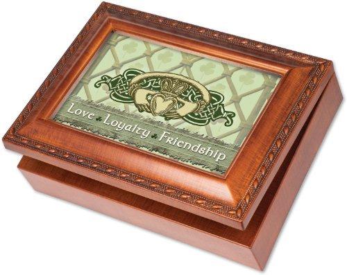 Cottage Garden Irish Love Loyalty Claddagh Woodgrain Music Box / Jewelry Box Plays That's an Irish Lullaby by Cottage ()