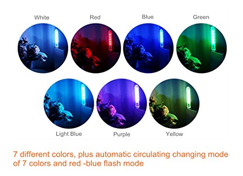 Ebyphan Portable Night Light Kids, Mini USB Led Lights, Modern Smart Novelty Lamps, Touch Switch Colorful RBG Bulbs, 9 Color Modes Adjustable, 2PCS by Ebyphan (Image #3)