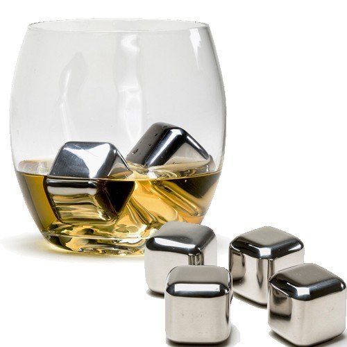 FrenzyDeals Set of 6 Stainless Steel Reusable Ice Cube Stones With Plastic Storage Box for Whiskey, Wine, Scotch, Soda (P H Soda compare prices)