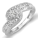 0.25 Carat (ctw) Sterling Silver Round Diamond Ladies Promise Engagement Bridal Ring 1/4 CT (Size 7)