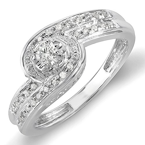 0.25 Carat (ctw) Sterling Silver Round Diamond Ladies Promise Engagement Bridal Ring 1/4 CT (Size 9) 0.25 Ct Engagement Ring