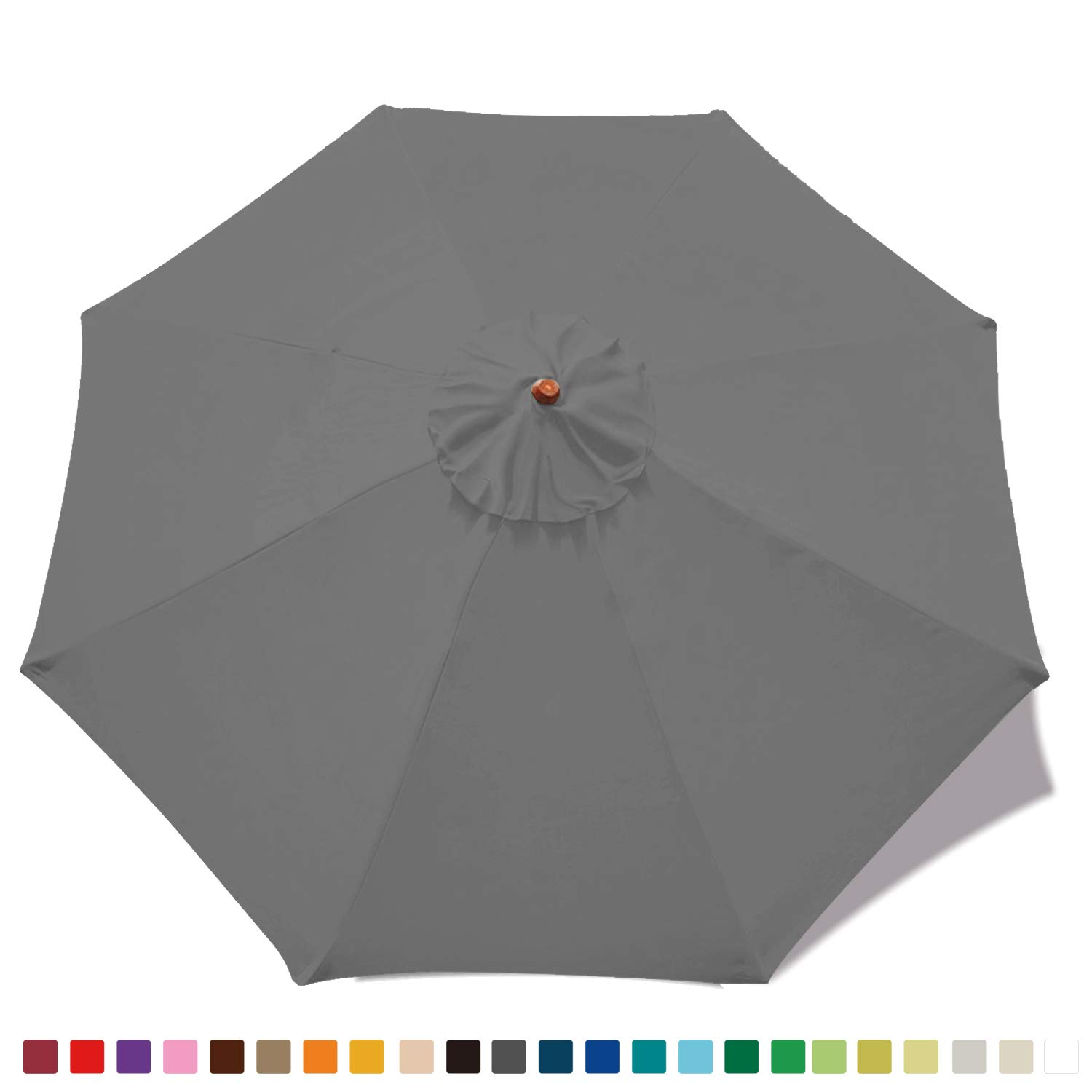 ABCCANOPY 9ft Outdoor Umbrella top for Patio Market Umbrella Replacement for Canopy with 8 Ribs Dark Gray