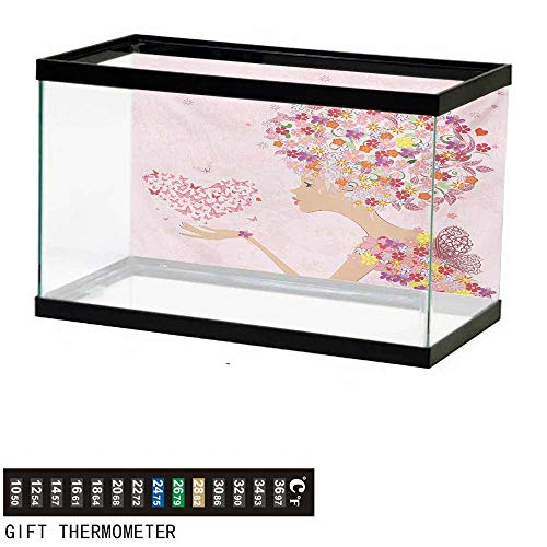 Aquarium Background,Pink,Fashion Flowers Girl with Heart of Butterflies Wings Spring Theme Artistic Hand Drawn,Multicolor Fish Tank Backdrop 36