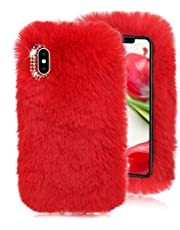 Red Furry Case for Galaxy M31/M30S/M20,Soft Case for Galaxy M31/M30S/M20,Herzzer Stylish Fashionable Winter Warmed Faux Rabbit Fur Bunny Plush Flexible Cover with Chic Crystal 3D Bowknot