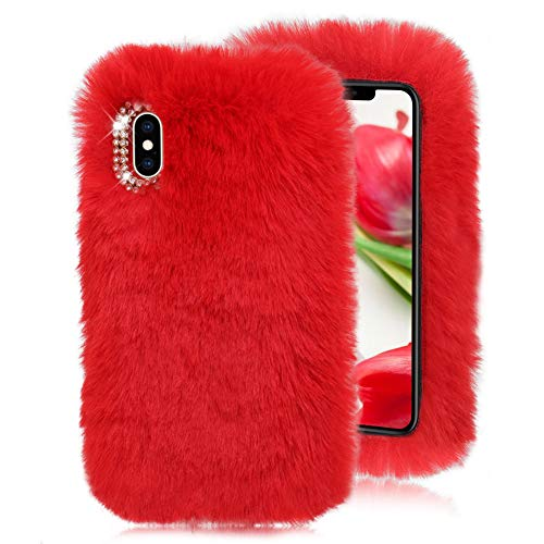Red Furry Case for Galaxy J7 2018,Soft Case for Galaxy J7 2018,Herzzer Stylish Fashionable Winter Warmed Faux Rabbit Fur Bunny Plush Flexible Cover with Chic Crystal 3D Bowknot